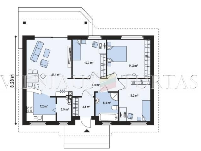 Trakų r. sav., Senojo Tarpupio k., 79 m², 11 a, 70 000 €