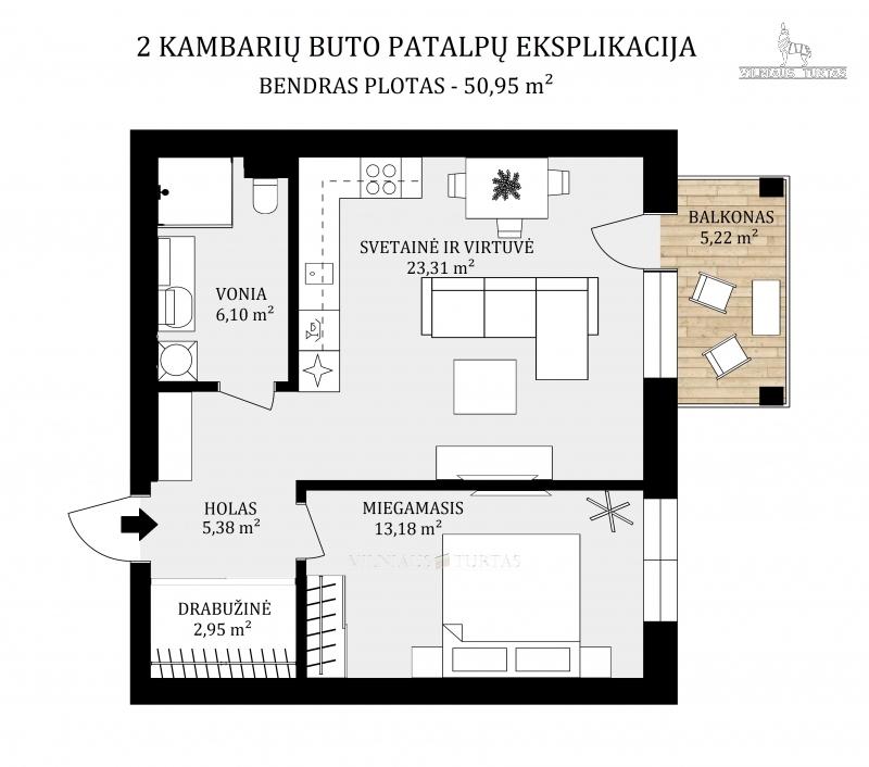 Vilniaus m. sav., Baltupiai, Kazio Ulvydo g., 51 m², 113 000 €