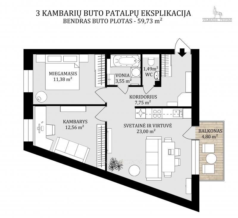 Vilniaus m. sav., Baltupiai, Kazio Ulvydo g., 59 m², 134 000 €